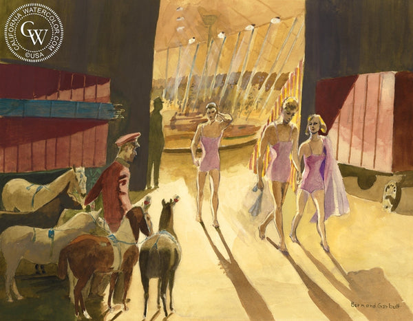 Circus, 1939, California art by Bernard Garbutt. HD giclee art prints for sale at CaliforniaWatercolor.com - original California paintings, & premium giclee prints for sale