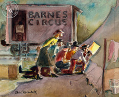 A Peek at the Circus, c. 1940s, California art by Ben Messick. HD giclee art prints for sale at CaliforniaWatercolor.com - original California paintings, & premium giclee prints for sale