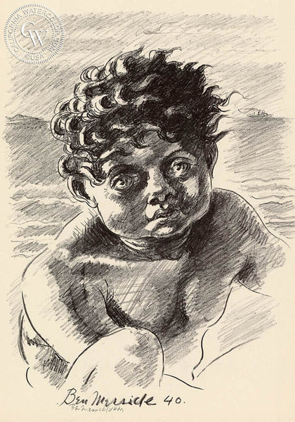 Ben Messick - Black Child, 1940 - California art - fine art print for sale, giclee watercolor print - Californiawatercolor.com