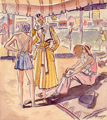 Chic at the Beach, Santa Monica, 1935, California art by Ben Messick. HD giclee art prints for sale at CaliforniaWatercolor.com - original California paintings, & premium giclee prints for sale