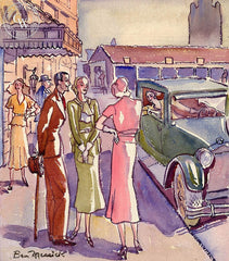 Chic in L.A., 1935, California art by Ben Messick. HD giclee art prints for sale at CaliforniaWatercolor.com - original California paintings, & premium giclee prints for sale