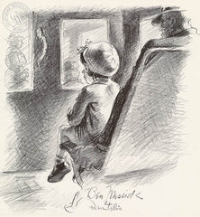 Ben Messick - Little Lady Passenger (First Streetcar Rider), 1940 - California art - fine art print for sale, giclee watercolor print - Californiawatercolor.com
