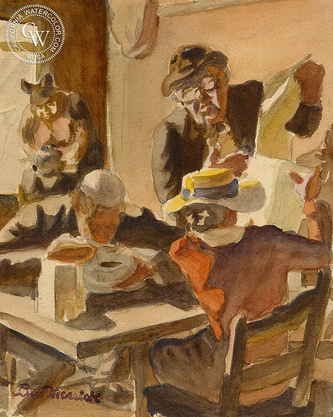 Main Street Cafe Society, c. 1939, California art by Ben Messick. HD giclee art prints for sale at CaliforniaWatercolor.com - original California paintings, & premium giclee prints for sale