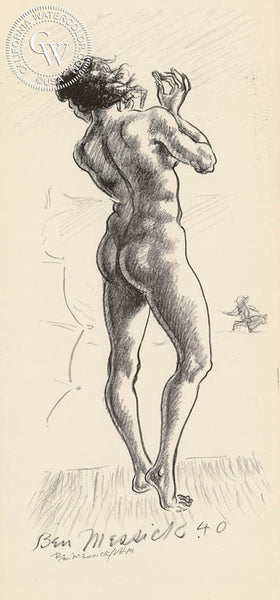 Ben Messick - Nude, 1940 - California art - fine art print for sale, giclee watercolor print - Californiawatercolor.com