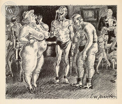 Ben Messick - Nudist Cocktail Party, 1940 - California art - fine art print for sale, giclee watercolor print - Californiawatercolor.com