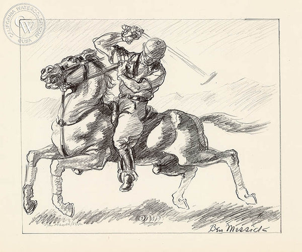 Ben Messick - Polo Player - California art - fine art print for sale, giclee watercolor print - Californiawatercolor.com