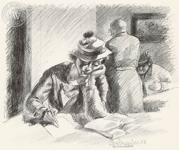 Ben Messick - Study Hour, 1939 - California art - fine art print for sale, giclee watercolor print - Californiawatercolor.com
