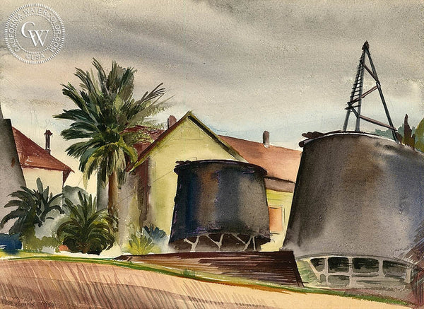 Ben Norris - Landscape with Tanks, Los Angeles, 1934, California art, original California watercolor art for sale - CaliforniaWatercolor.com