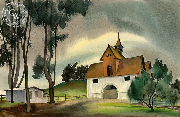 Ben Norris - White Barn, 1935, California art, original California watercolor art for sale - CaliforniaWatercolor.com