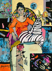 Delilah Thinking of Matisse, California art by Betsy Dillard Stroud. HD giclee art prints for sale at CaliforniaWatercolor.com - original California paintings, & premium giclee prints for sale