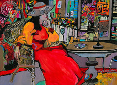 Lady in Red, California art by Betsy Dillard Stroud. HD giclee art prints for sale at CaliforniaWatercolor.com - original California paintings, & premium giclee prints for sale