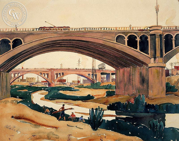 Water Under the Bridge, L.A. River, 1939, California art by Blaire Field. HD giclee art prints for sale at CaliforniaWatercolor.com - original California paintings, & premium giclee prints for sale