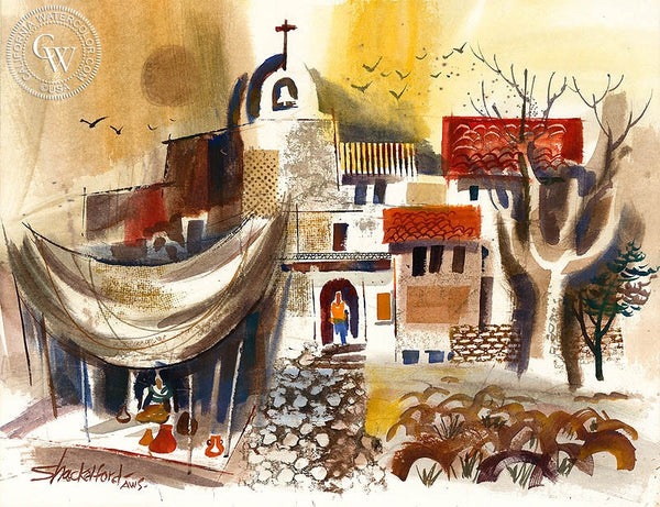 Bud Shackelford - Cobblestone Sanctuary, California art, original California watercolor art for sale - CaliforniaWatercolor.com
