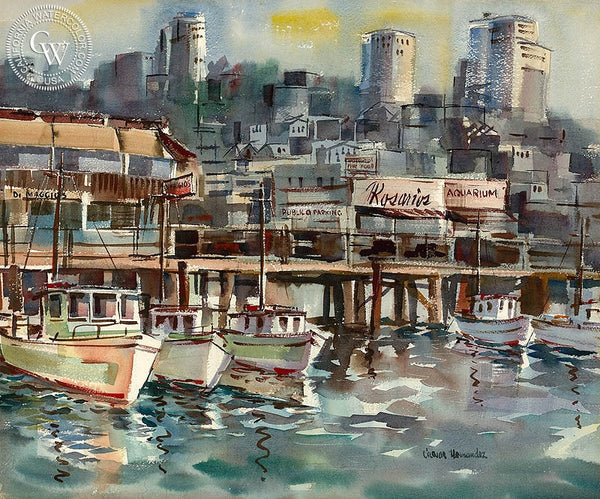 Fishing Wharf, California art by Caesar Hernandez. HD giclee art prints for sale at CaliforniaWatercolor.com - original California paintings, & premium giclee prints for sale
