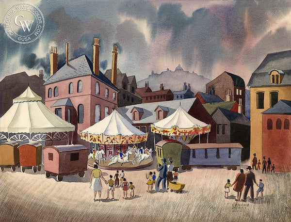 France Carnival, c. 1930's, California art by Caesar Hernandez. HD giclee art prints for sale at CaliforniaWatercolor.com - original California paintings, & premium giclee prints for sale