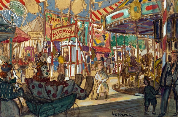 Midway Carnival, California art by Carl Westdahl Heilborn. HD giclee art prints for sale at CaliforniaWatercolor.com - original California paintings, & premium giclee prints for sale