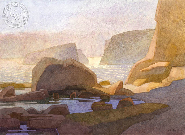 Coastal Tide Pool, California art by Carolyn Lord. HD giclee art prints for sale at CaliforniaWatercolor.com - original California paintings, & premium giclee prints for sale