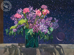 Twilight Lilacs, 1989, California art by Carolyn Lord. HD giclee art prints for sale at CaliforniaWatercolor.com - original California paintings, & premium giclee prints for sale