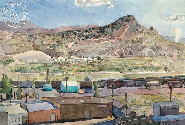 A View of Elko, 1981, California art by Carolyn Lord. HD giclee art prints for sale at CaliforniaWatercolor.com - original California paintings, & premium giclee prints for sale
