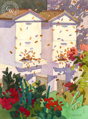 All Hallow's Bees, California art by Carolyn Lord. HD giclee art prints for sale at CaliforniaWatercolor.com - original California paintings, & premium giclee prints for sale