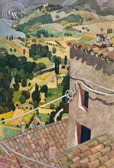 Alta Vista dal Labro, Italy, 1991, a California watercolor painting by Carolyn Lord. HD giclee art prints for sale at CaliforniaWatercolor.com - original California paintings, & premium giclee prints for sale