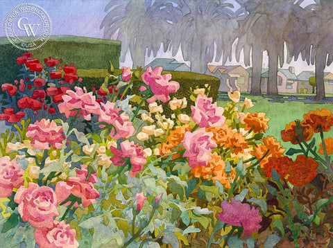 April Roses with Palms, California art by Carolyn Lord. HD giclee art prints for sale at CaliforniaWatercolor.com - original California paintings, & premium giclee prints for sale
