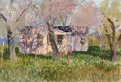 Arroyo Road Ranch House, 1988, California art by Carolyn Lord. HD giclee art prints for sale at CaliforniaWatercolor.com - original California paintings, & premium giclee prints for sale
