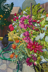 Barb's Garden, 1993, a California watercolor painting by Carolyn Lord. HD giclee art prints for sale at CaliforniaWatercolor.com - original California paintings, & premium giclee prints for sale