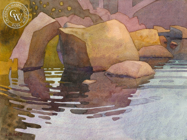 Beside the Clear Water at Negro Bar, 2018, a California watercolor painting by Carolyn Lord. HD giclee art prints for sale at CaliforniaWatercolor.com - original California paintings, & premium giclee prints for sale