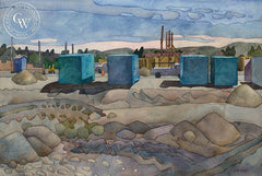 Blue Boxes, 2003, California art by Carolyn Lord. HD giclee art prints for sale at CaliforniaWatercolor.com - original California paintings, & premium giclee prints for sale