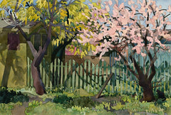 Bungalow Spring, 1984, California art by Carolyn Lord. HD giclee art prints for sale at CaliforniaWatercolor.com - original California paintings, & premium giclee prints for sale