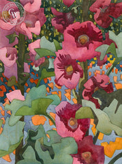 California Hollyhocks, California art by Carolyn Lord. HD giclee art prints for sale at CaliforniaWatercolor.com - original California paintings, & premium giclee prints for sale