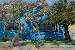 Cool Blue Porch, 1983, California art by Carolyn Lord. HD giclee art prints for sale at CaliforniaWatercolor.com - original California paintings, & premium giclee prints for sale