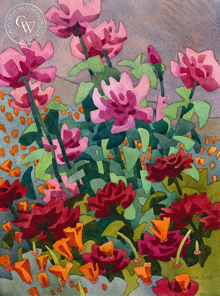 Cul-de-Sac Roses, California art by Carolyn Lord. HD giclee art prints for sale at CaliforniaWatercolor.com - original California paintings, & premium giclee prints for sale