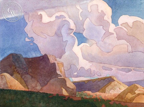 Cumulus Passing over Mt. Carmel, 2018, a California watercolor painting by Carolyn Lord. HD giclee art prints for sale at CaliforniaWatercolor.com - original California paintings, & premium giclee prints for sale