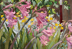 Dragonflies Amongst the Pink Ladies, 1990, California art by Carolyn Lord. HD giclee art prints for sale at CaliforniaWatercolor.com - original California paintings, & premium giclee prints for sale