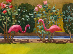 Flamingo Duet, California art by Carolyn Lord. HD giclee art prints for sale at CaliforniaWatercolor.com - original California paintings, & premium giclee prints for sale