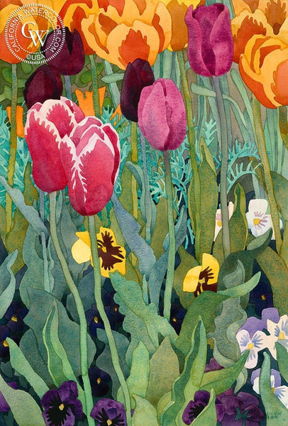 Flamingo Tulips, 1991, California art by Carolyn Lord. HD giclee art prints for sale at CaliforniaWatercolor.com - original California paintings, & premium giclee prints for sale
