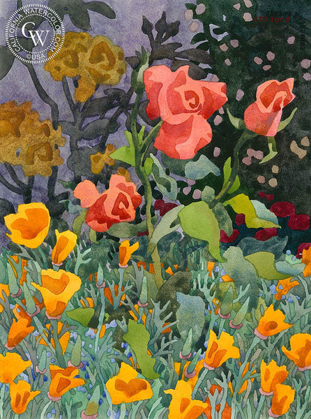 Garden Minuet, California art by Carolyn Lord. HD giclee art prints for sale at CaliforniaWatercolor.com - original California paintings, & premium giclee prints for sale