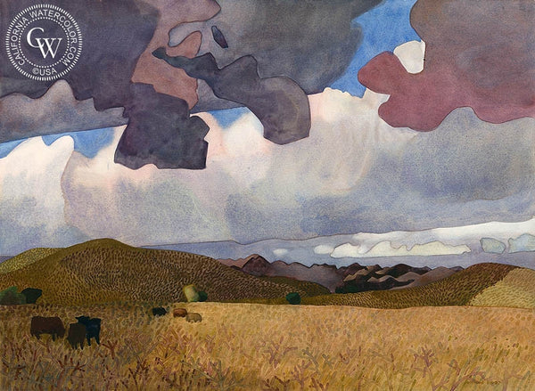 Grazing Clouds, 1987, California art by Carolyn Lord. HD giclee art prints for sale at CaliforniaWatercolor.com - original California paintings, & premium giclee prints for sale