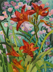 Lily Aster, California art by Carolyn Lord. HD giclee art prints for sale at CaliforniaWatercolor.com - original California paintings, & premium giclee prints for sale