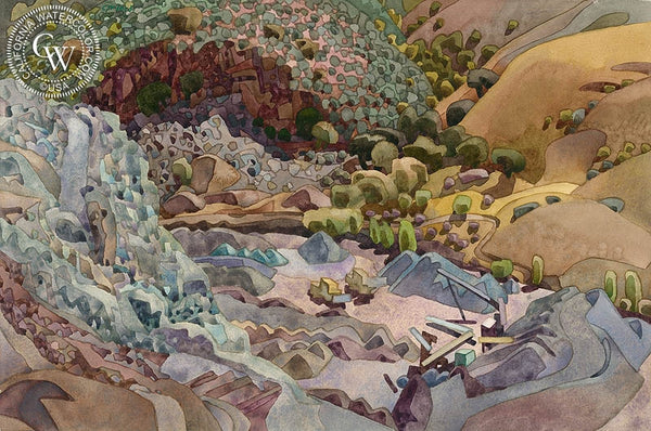 Mint Chip Rock Pit, 2002, California art by Carolyn Lord. HD giclee art prints for sale at CaliforniaWatercolor.com - original California paintings, & premium giclee prints for sale