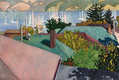 Nicolaou's Sausalito View, 1990, California art by Carolyn Lord. HD giclee art prints for sale at CaliforniaWatercolor.com - original California paintings, & premium giclee prints for sale
