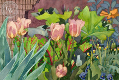 Peerless Pink Tulips, 1990, California art by Carolyn Lord. HD giclee art prints for sale at CaliforniaWatercolor.com - original California paintings, & premium giclee prints for sale