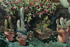 Potted Prickles on the Patio, 1980, California art by Carolyn Lord. HD giclee art prints for sale at CaliforniaWatercolor.com - original California paintings, & premium giclee prints for sale