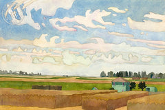 September Skies in Ryde, 1990, California art by Carolyn Lord. HD giclee art prints for sale at CaliforniaWatercolor.com - original California paintings, & premium giclee prints for sale