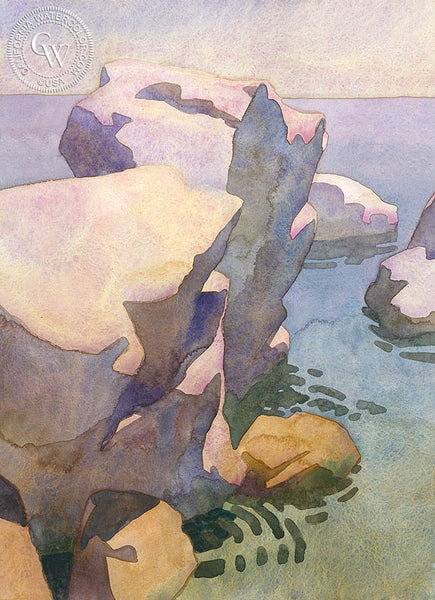 Shell Beach, 2017, a California watercolor painting by Carolyn Lord. HD giclee art prints for sale at CaliforniaWatercolor.com - original California paintings, & premium giclee prints for sale