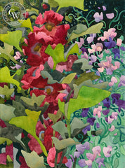 Sweet Peas and Hollyhocks, California art by Carolyn Lord. HD giclee art prints for sale at CaliforniaWatercolor.com - original California paintings, & premium giclee prints for sale