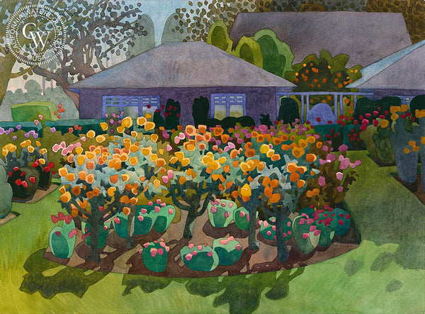 Wrigley Garden, 2008, California art by Carolyn Lord. HD giclee art prints for sale at CaliforniaWatercolor.com - original California paintings, & premium giclee prints for sale