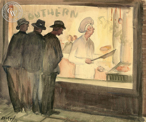 Southern (Southern Steaks), California art, Charles Keck, original California watercolor art for sale - CaliforniaWatercolor.com
